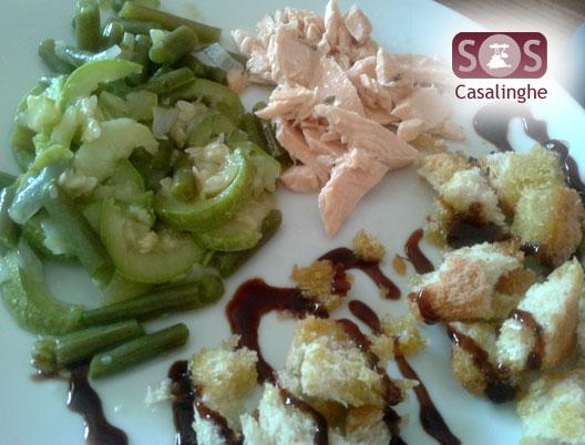 Ricetta Salmone con Crostini alla crema di aceto balsamico