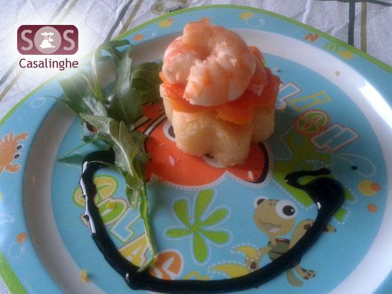 Ricetta Fiori di Patate e Zucca con Gamberetti